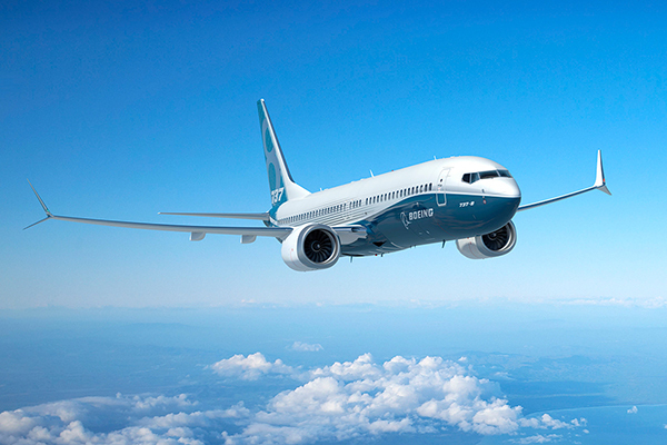 Lightweight metals leader Alcoa has signed a long-term agreement with Boeing for components for Boeing airplanes, including the 737 MAX 8, shown here. (Photo courtesy of Boeing)