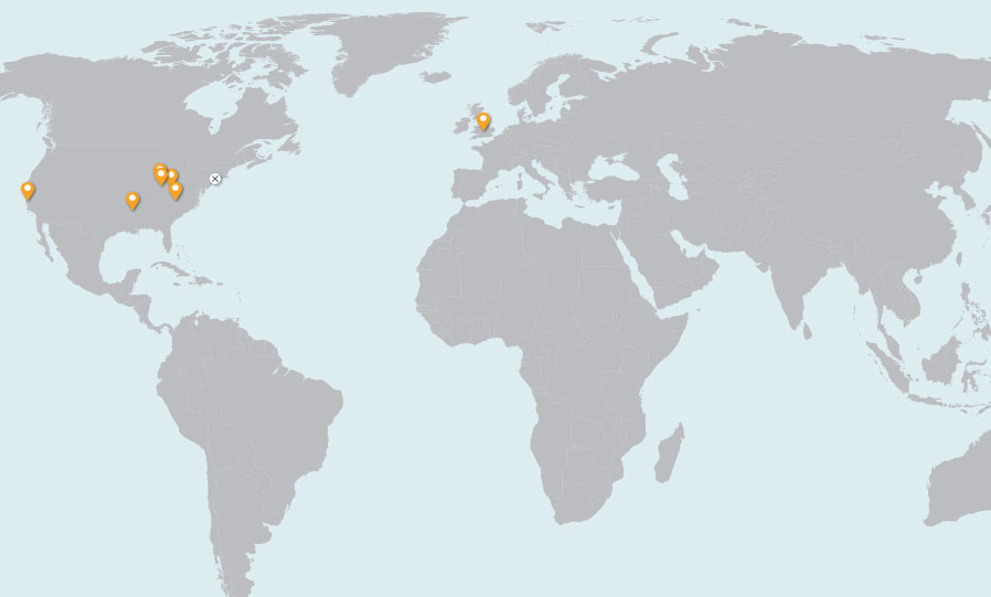 provides map of globe with dots for Engineered Materials related facilities
