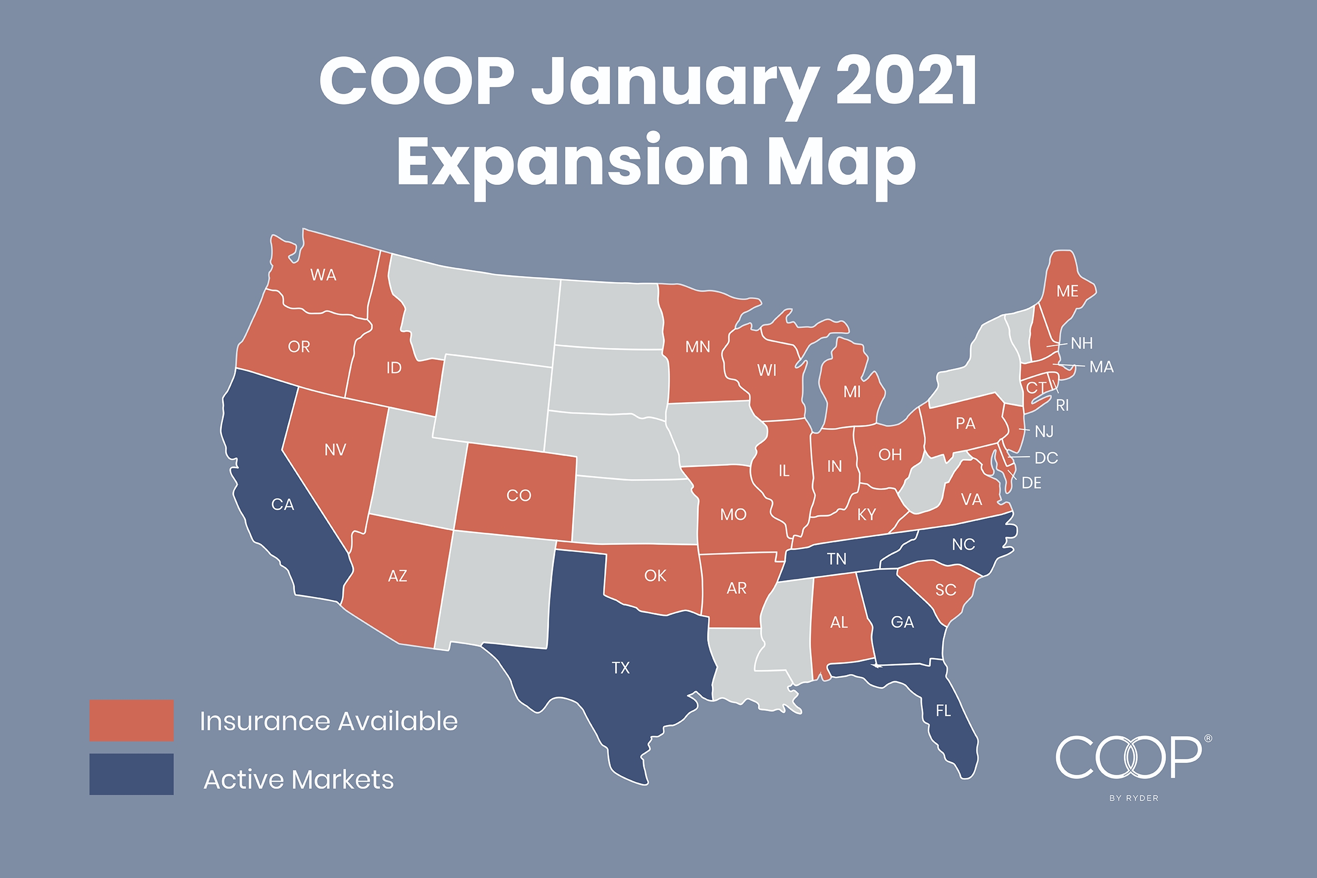 COOP expands insurance program to 34 states, enabling existing customers with large fleets across multiple markets to leverage the platform wherever they operate