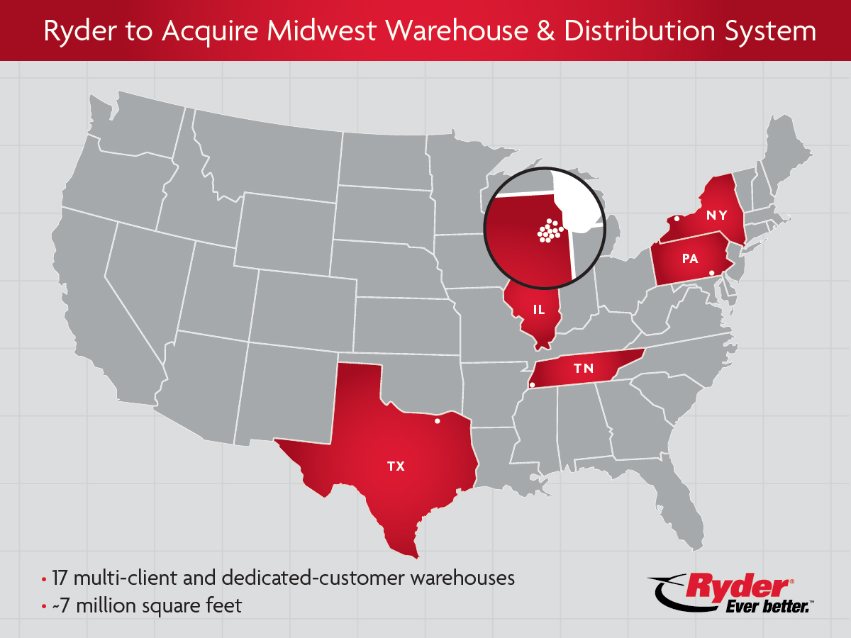 Ryder to acquire Midwest Warehouse & Distribution System which operates 17 multi-client and dedicated-customer warehouses, primarily in the greater Chicago area. The multi-client warehousing capability will provide a new avenue for growth for Ryder and expands the 3PL's presence in a key supply chain geography. (Graphic: Business Wire)